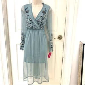 NWT Target Light Green Mesh Embroidered Dress